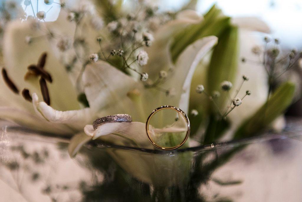 Artfully photographed gold and silver wedding rings are an integral part of Israel event photography