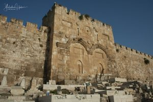 View of the sealed Mercy Gate and ramparts of the Old City of Jerusalem.