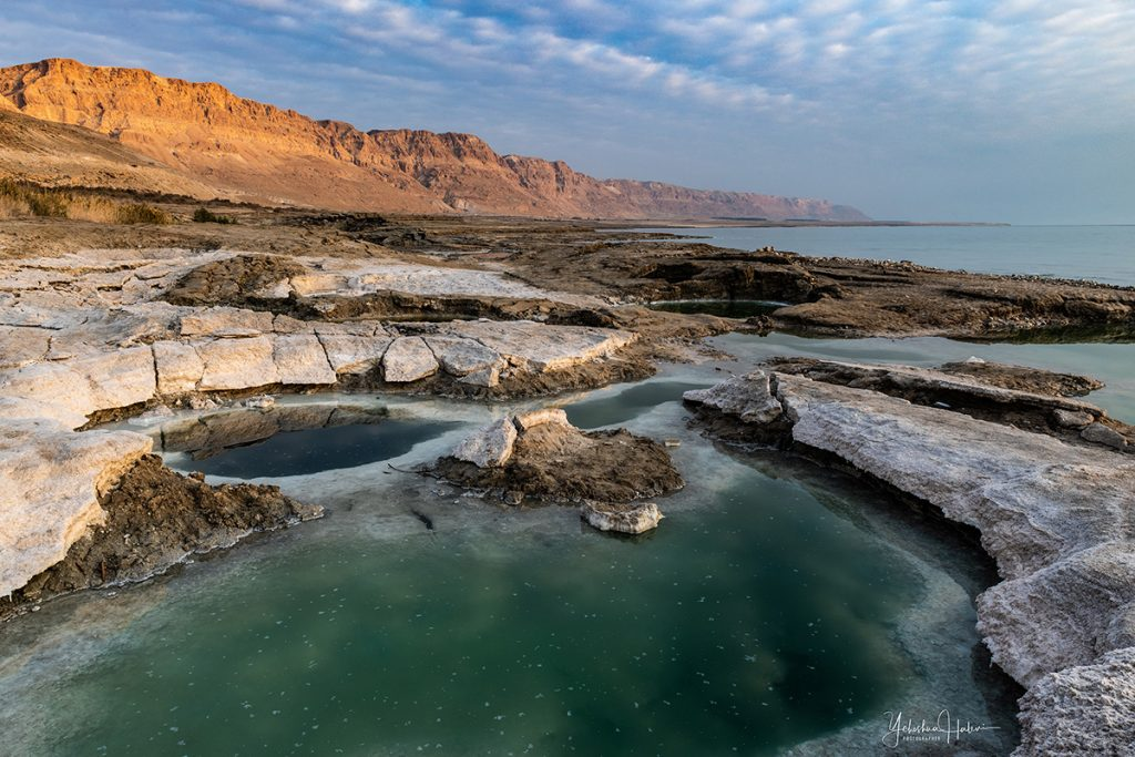 Salt encrusted shoreline of the Dead Sea on an Israel photography tour